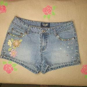 Angels Floral Sequined Denim Jean Shorts Size 11